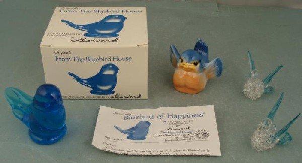 3 Bird Figurines Bluebird House Signed, Glass Porcelain