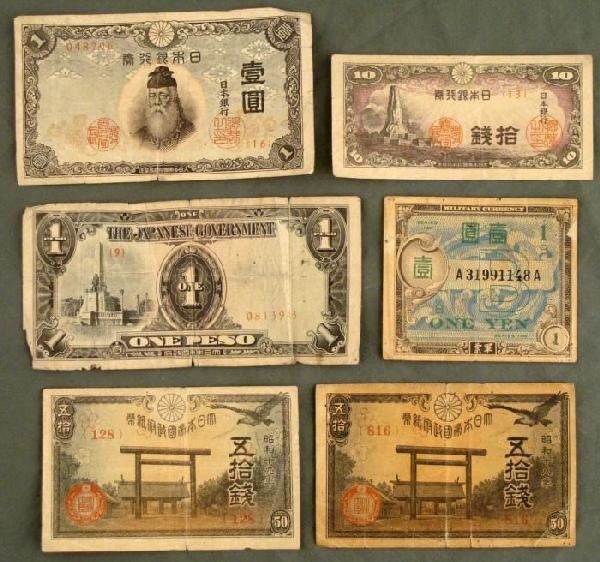 6 PCS JAPANESE CURRENCY-(4) PRE-WAR 7 WAR TIME