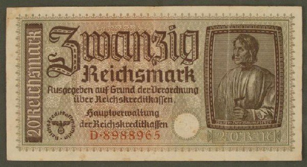 NAZI 20 RM ORIGINAL CURRENCY WITH EAGLE AND SWASTIKA