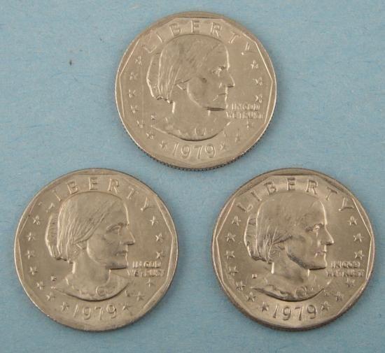 (3) Diff Fill ERROR 1979 Susan B. Anthony Dollars P,D,S
