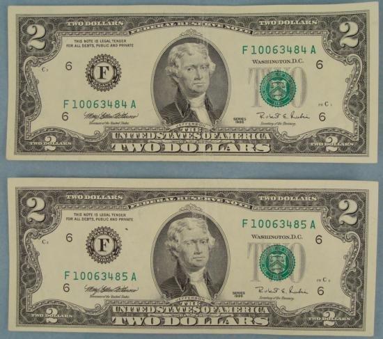 2 Consecutive # $2 Bills F Mint Atlanta Notes CU 1995