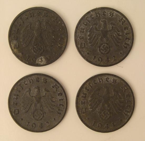 FOUR ORIGINAL NAZI ZINC 1 REICH PFENNING-1940-41 & (2)