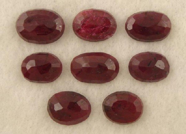 128ct Natural Red Rubies Oval Cut Lot of 8