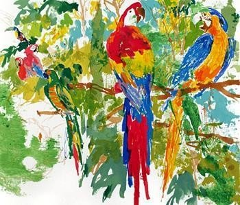 BIRDS OF PARADISE Macaw Signed Neiman Serigraph Art