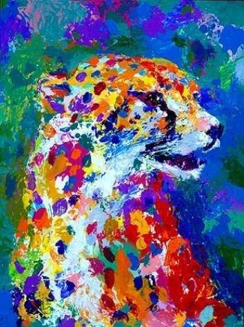 Portrait of the Cheetah Signed LeRoy Neiman Art Print