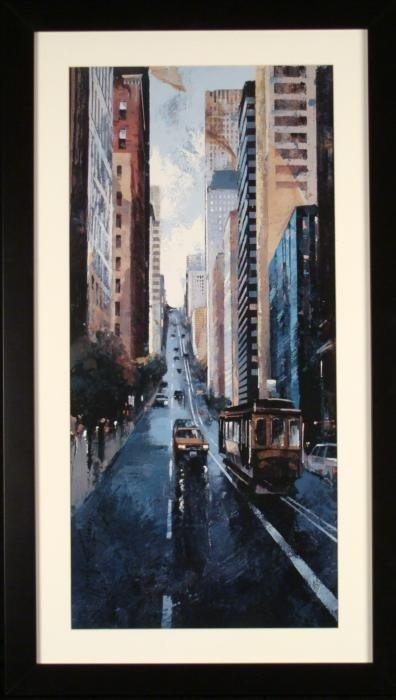 San Francisco Street Scene Trolley Car Art Print Framed