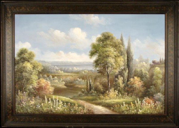 Original Oil Painting Ethan Country Landscape Framed
