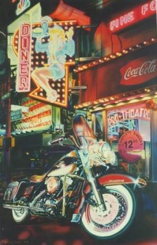 James Gucwa KING & I Retro Motorcycle Art S/N Canvas
