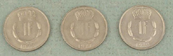 Luxembourg 3 Diff Date 1 Franc AU UNC Coins 1972-80