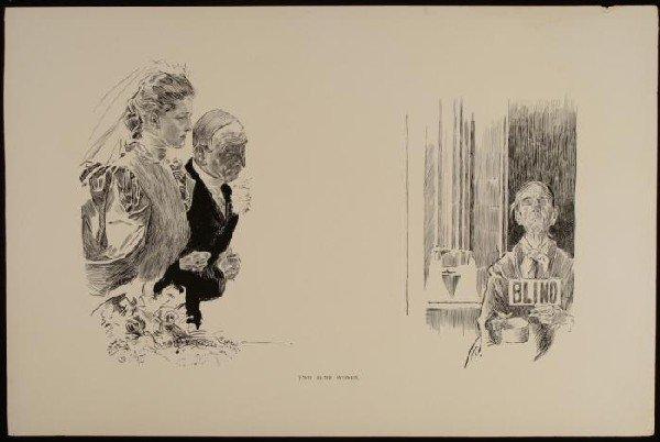 Charles Gibson Girl Original Book Print 1896 BLIND