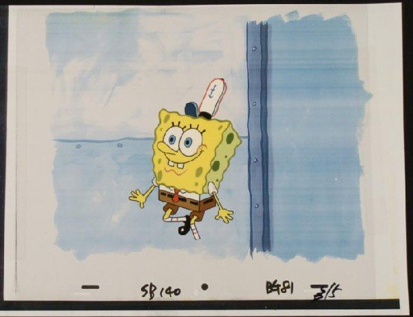 Jolly SpongeBob Original Art Background Cel Animation