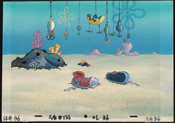 SpongeBob Hooks Original Background Animation Cel Art