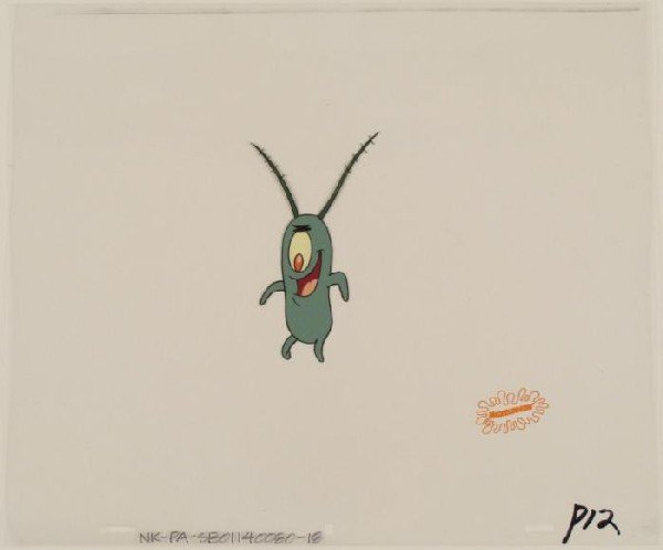 SpongeBob Original Plankton Jump For Joy Cel Animation
