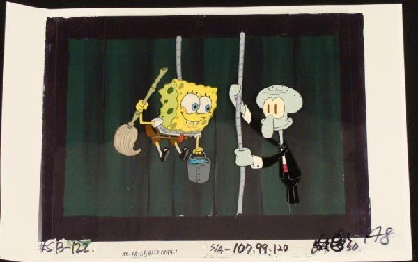 Animation Hold Rope SpongeBob Background Cel Original