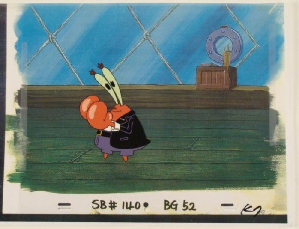 Looking Original SpongeBob Animation Background Cel Art