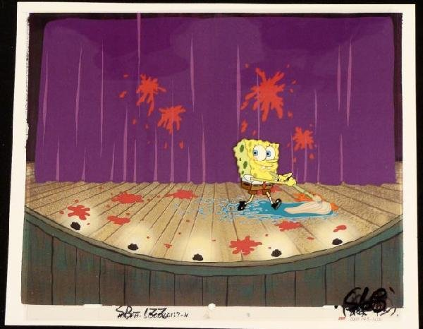Original Cheer For SpongeBob Production Background Cel
