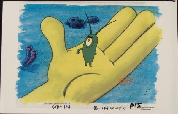 In Hand SpongeBob Original Animation Art Background Cel