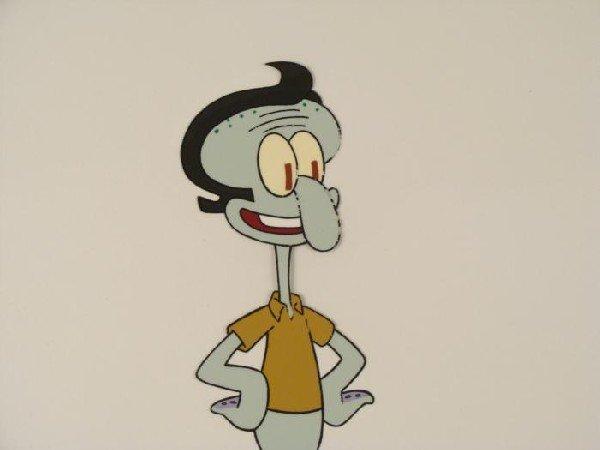 Production Art Squidward Happy Original SpongeBob Cel - 2