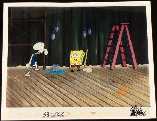 Production SpongeBob Original Cel Background Mop Art