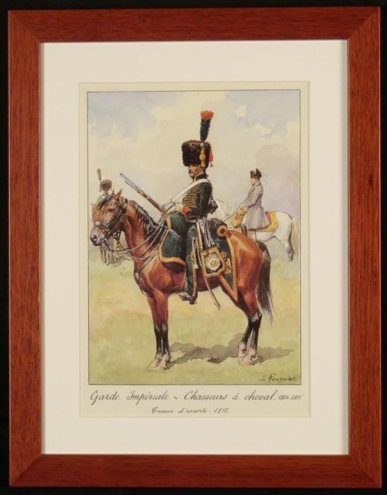 French Guard Napoleon Cavalry Horseback Print Rousselot