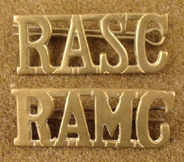 2 WWI BRITISH RASC & RAMC ORIGINAL INSIGNIA ROYAL MEDIC