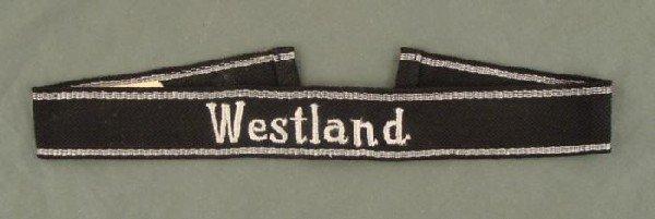 NAZI SS WESTLAND CUFF TITLE W/RZM TAG REPRO