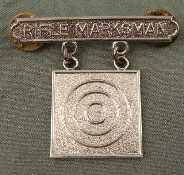 U.S. MARINE RIFLE MARKSMAN AWARD BADGE ORIG STERLING