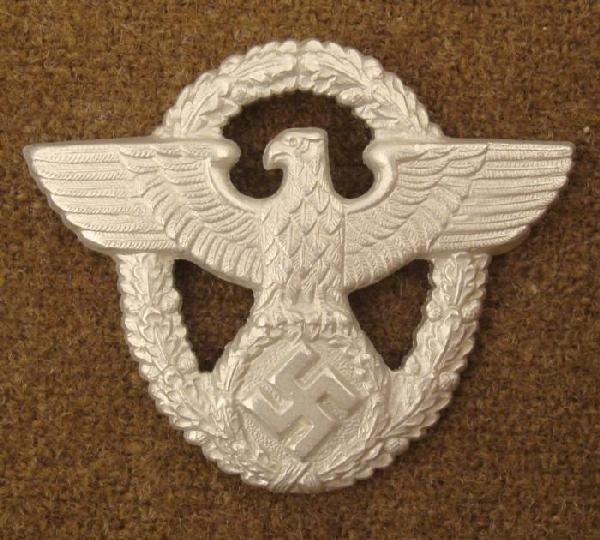 VISOR CAP NAZI POLICE EAGLE/SWASTIKA/IN WREATH W/PRONGS