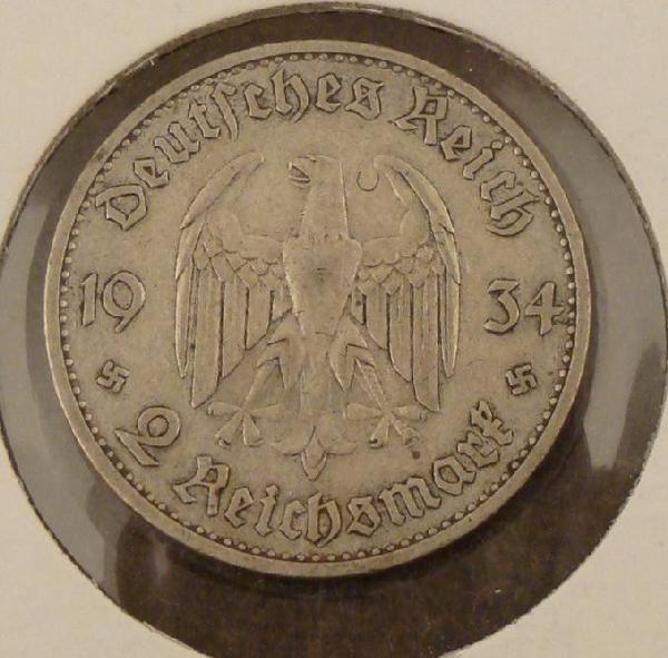 1934 2 REICHSMARK NAZI SILVER COIN W/EAGLE & SWASTIKAS