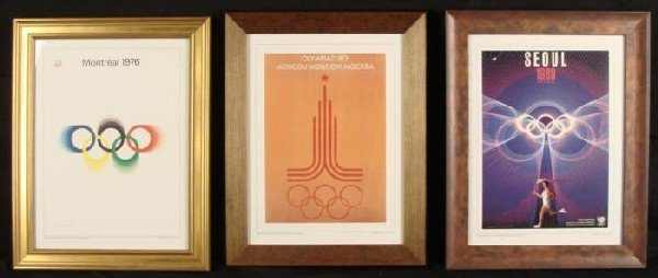 3 Olympics Posters Framed: Montreal, Moscow, Seoul