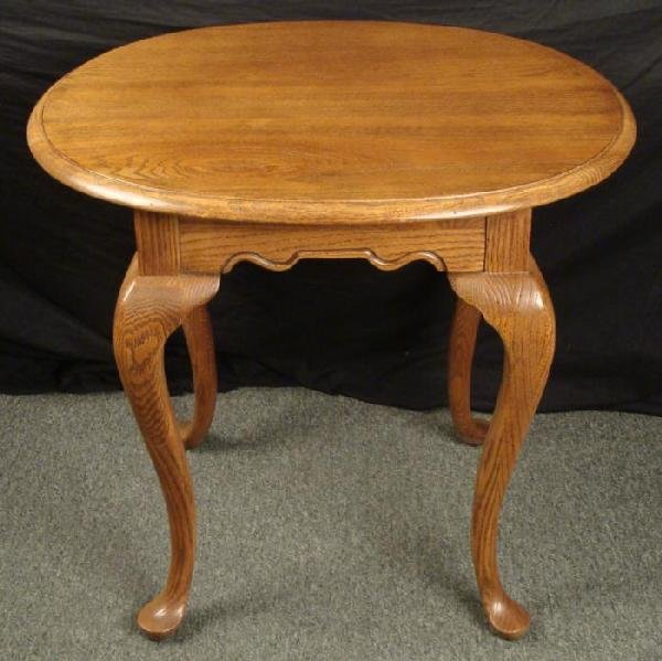 Antique Wood Oval End Table 1960s