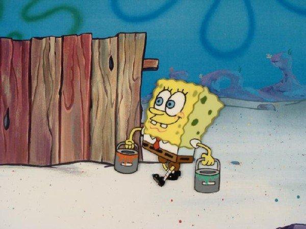 Paint Fence Background Cel Original SpongeBob Animation - 2