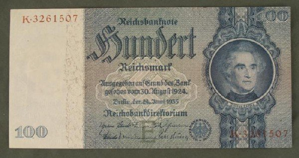 ORIGINAL 100 RM GERMAN NOTE-1935