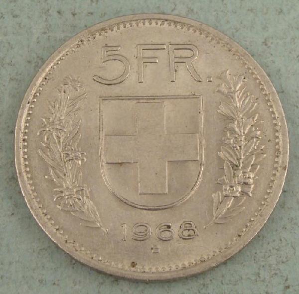 1968 B Five 5 Francs Swiss Coin UNC