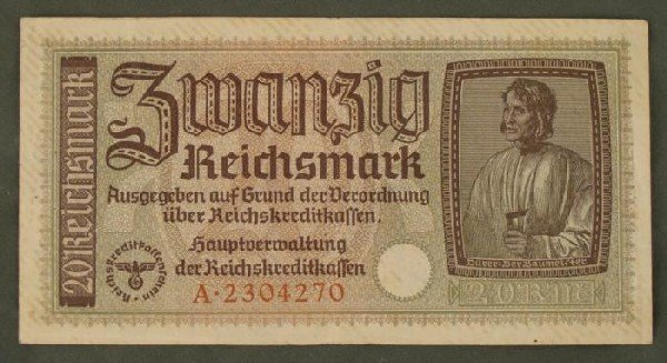 ORIGINAL 20 RM NAZI NOTE EAGLE/SWASTIKA EMBOSSED