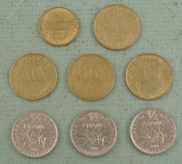 1 Lot French Coins 5, 10 Centimes, 1/2 Franc 1963-1971