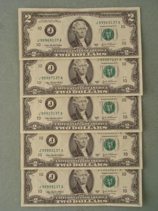 Unusual Collection 5 2003 J Mint $2 Bills Ending in 137