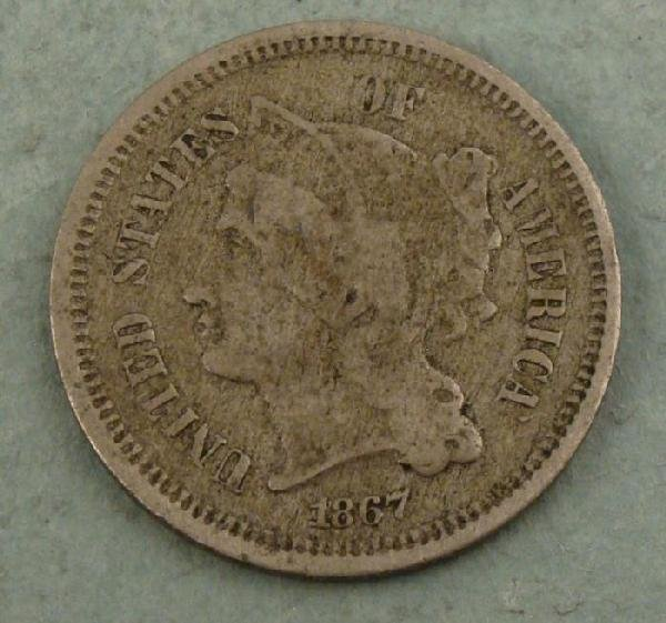 1867 3 Three Cent Nickel US Coin