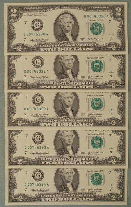 5 Consec # 2003A $2 G Notes Two Dollar Bills Chicago CU