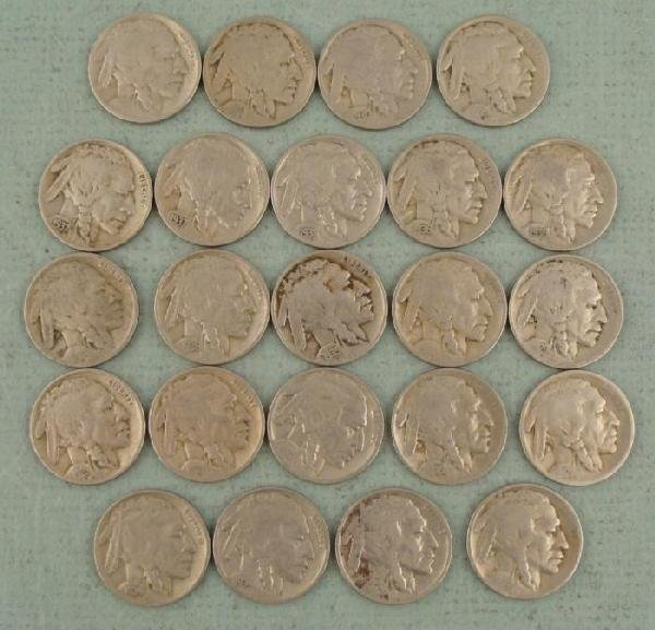 23 Diff Date Buffalo Nickels Full Dates Coins