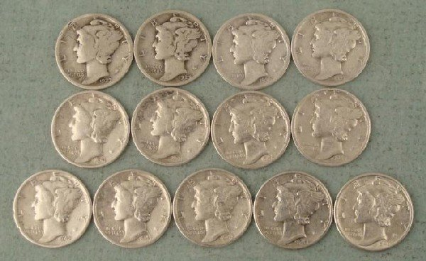13 Different Date Mercury Dimes 1927-1945