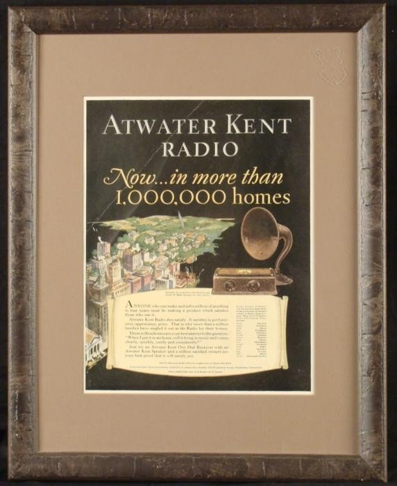 Atwater Kent Radio Vintage Advertisement Ad Framed