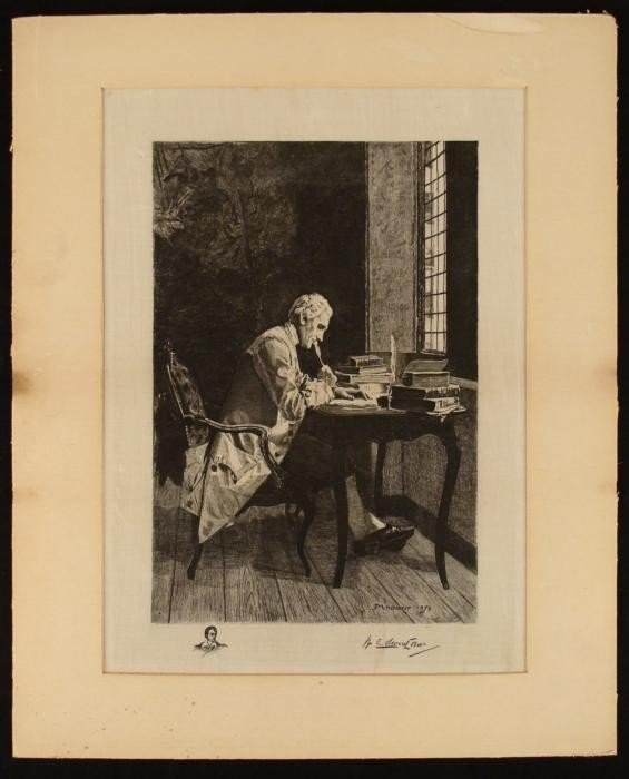 Signed Early 20th C. Etching After Meissonier -Writer