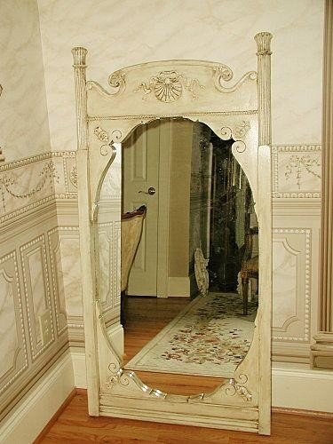 French Carved Mirror Wooden Early 1900s Reversible
