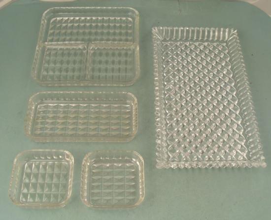 2 Vintage Rectangular Retro Glass Serving Trays +