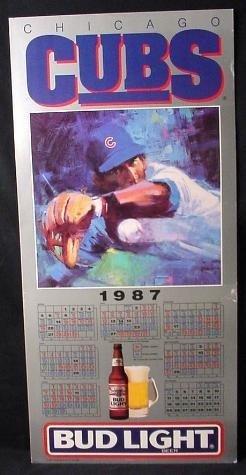 HUGE 1987 Cubs Baseball Schedule Bud Light Promo Art