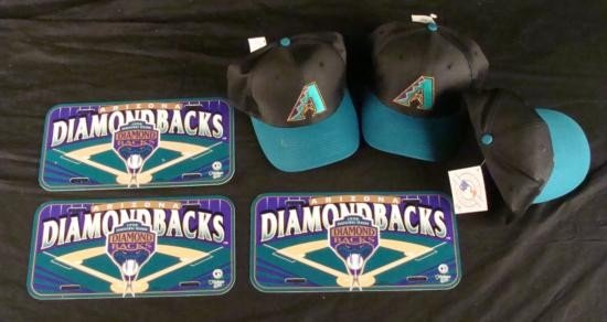 Lot Diamondbacks Hats + Inaugural Season License Plate