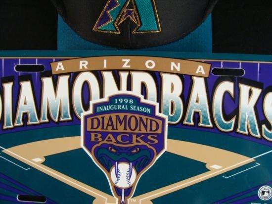 Lot Diamondbacks Hats + Inaugural Season License Plate - 2