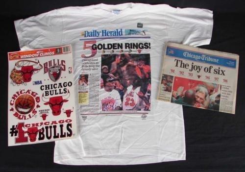 Chicago Bulls Champion Collector Lot: T-Shirt,Newspaper