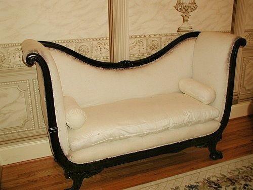 French Empire Sofa Down Cushion Mid 19th Century Hand C